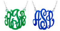 Acrylic Cut-Out Monogram Necklace - Script Monogram (Split Chain Style)