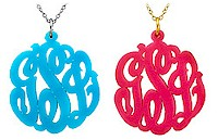 Acrylic Cut-Out Monogram Necklace - Script Monogram (Pendant Style)