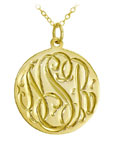 Gold Vermeil Hand Engraved Script Pendant Necklace