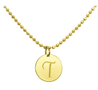 Micro Disc Initial Pendant with Optional Chain and Charms - Gold Vermeil