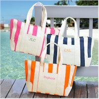 Personalized Gifts - Personalized Striped Canvas Tote Bag (2176N-R)