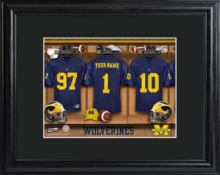College Football Locker Room w/Wood Frame - Michigan (GC733)