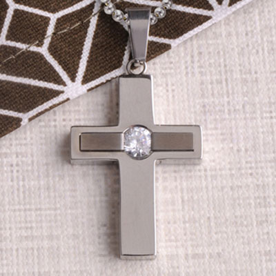 Jewel Inlay Cross Necklace