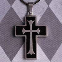 Cross Necklace with Black Inlay