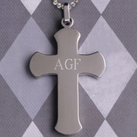 Rounded Edge Cross Necklace
