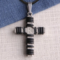 Black Wrapped Cross Necklace