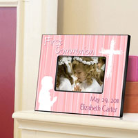 First Communion Frame - Hear Prayer Pink