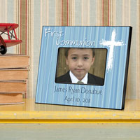 First Communion Frame - Light God Blue