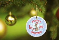 Merry Christmas Ornaments - Puppy Blue