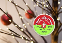 Merry Christmas Ornaments - Santa Round Red