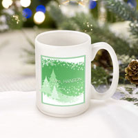 Winter Holiday Coffee Mugs - Green Snowscapes (GC771)