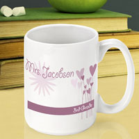 Teacher Coffee Mug - Hearts Flowers