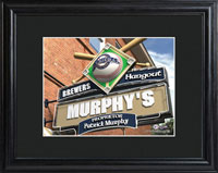 MLB Pub Print w/Wood Frame - Brewers