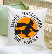 Personalized Halloween Throw Pillows - Witch