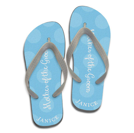 faf450472faf78 Paper So Pretty - Personalized Flip Flops (Polka Dot Mother of the Groom -  Blue