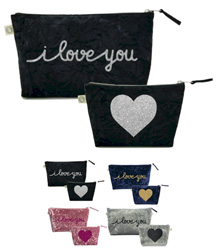 Luxe Bags by Quilted Koala (I Love You Clutch & Makeup Set)