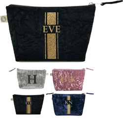 Luxe Bags by Quilted Koala (Personalized Velvet Makeup Bag)