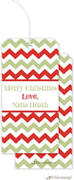 Little Lamb Design - Hanging Gift Tags (Chevron - Green & Red Stripes)