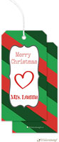 Little Lamb Design - Hanging Gift Tags (Striped - Green & Red)