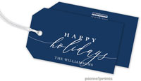 PicMe Prints - Hanging Gift Tags (Happy Holidays Calligraphy Navy)
