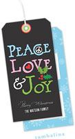Tumbalina Hanging Gift Tags - Peace Love Joy Collage