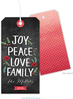 Tumbalina Hanging Gift Tags - Organic Joy Peace Love Family