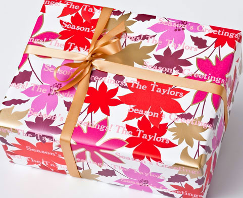 Name Maker Personalized Gift Wrap - Poinsetta Blossom