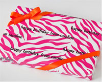 Name Maker Personalized Gift Wrap - Pink Zebra