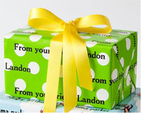 Name Maker Personalized Gift Wrap - Preppy Dot Lime