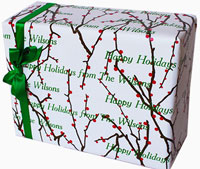Name Maker Personalized Gift Wrap - Holly Branches