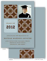 Take Note Designs - Modern Circle Brown and Blue Graduation Announcements (Photo)