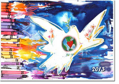 Another Creation by Michele Pulver Holiday Greeting Cards - Crayon Dove