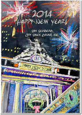 Another Creation by Michele Pulver Holiday Greeting Cards - Fireworks at Midnight