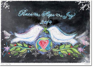Another Creation by Michele Pulver Holiday Greeting Cards - Peace Hope Joy