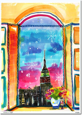 Another Creation by Michele Pulver Holiday Greeting Cards - Window on NYC