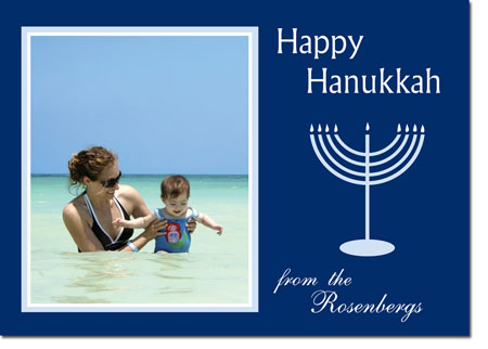 Birchcraft Studios Hanukkah Greeting Cards - Happy Hanukkah Photo Card in Navy