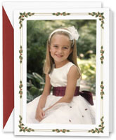 Boxed Holiday Photo Mount Cards by Crane (Engraved Holly Berry Frame)