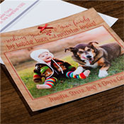 Checkerboard Holiday Photo Mount Cards - Mistletoe Kisses