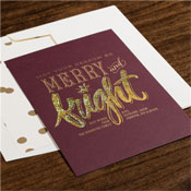 Checkerboard Holiday Greeting Cards - Merry and Bright