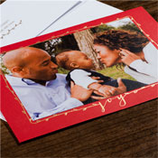 Checkerboard Holiday Photo Mount Cards - Joy Border