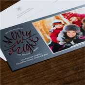 Checkerboard Holiday Photo Mount Cards - Bright Greetings