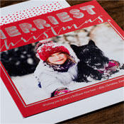 Checkerboard Holiday Photo Mount Cards - Merriest (Red)