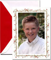 Crane Holiday Photo Mount Cards - Holly Frame