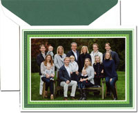 Crane Holiday Photo Mount Cards - Gold and Green Frame