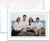 Crane Holiday Photo Mount Cards - Engraved White and Gold Beach Glass