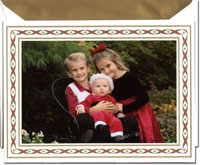 Crane Holiday Photo Mount Cards - Woven Ribbons