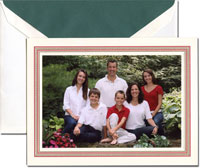 Crane Holiday Photo Mount Cards - Scarlet With Gold Frieze