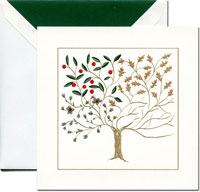 Crane Holiday Greeting Cards - Four Seasons Shaker Tree of Life
