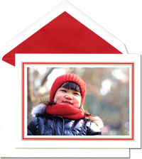 Boxed Holiday Photo Mount Cards by Crane (Classic Red and Gold Frame)