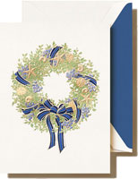 Crane Holiday Greeting Cards - Sea Berries and Shells Coastal Wreath
